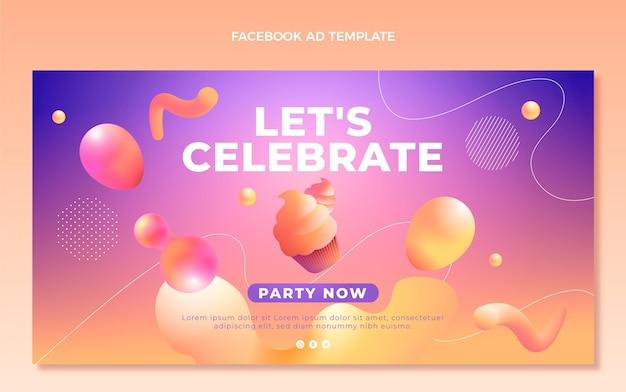 Anúncio do facebook de aniversário de gradiente abstrato fluido
