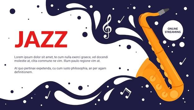 Anúncio do festival musical de desenho animado, anúncio de promoção de show de festa com trompete vintage