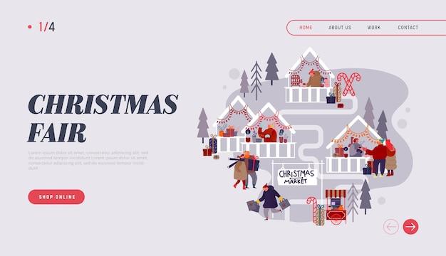 Anúncio do mercado de natal na internet. página inicial com personagens de pessoas fazendo compras online na feira de natal, comprando presentes festivos para o site da festa de ano novo. flat cartoon