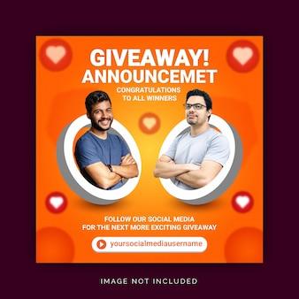 Anúncio do vencedor do sorteio corporativo, postagem na mídia social modelo de banner do instagram