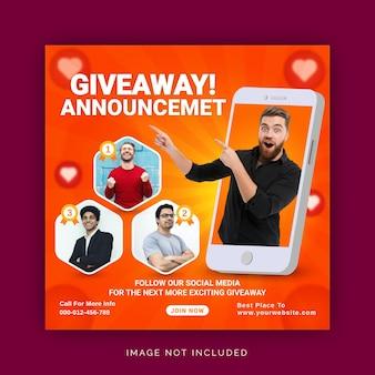 Anúncio do vencedor do sorteio de conceito único modelo para postagem nas redes sociais do instagram
