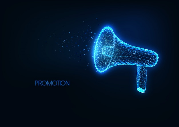Anúncio futurista, promoção, propaganda com megafone baixo poligonal brilhante