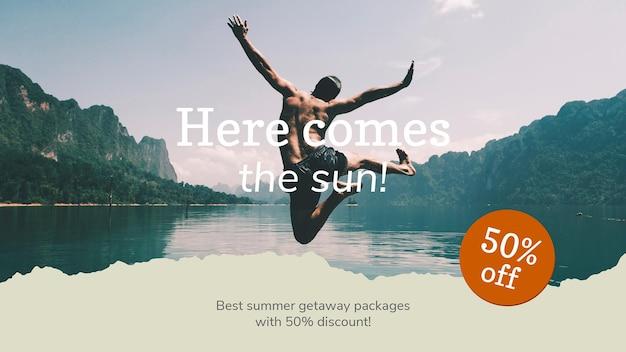 Anúncio promocional anexável com foto de modelo de banner de agência de viagens