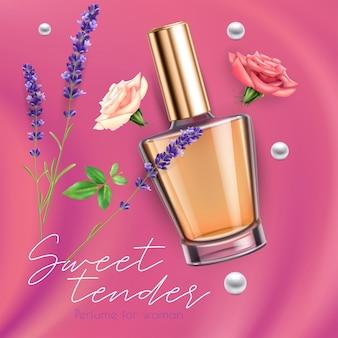 Anúncio realista com frasco de perfume feminino doce rosa em fundo rosa