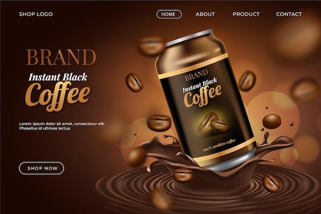 Anúncio realista com página de destino do produto