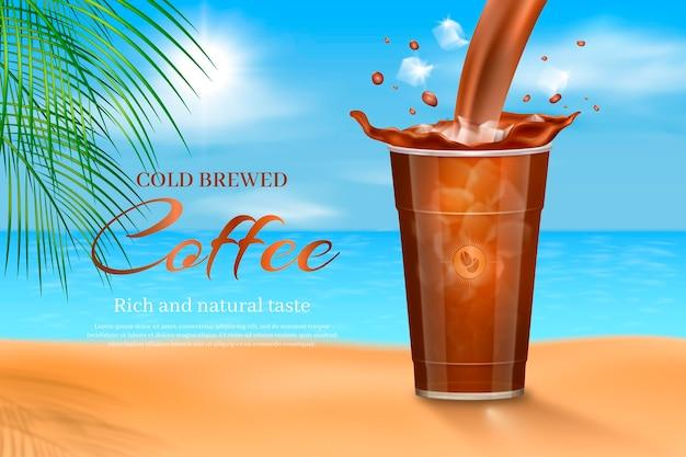 Anúncio realista de café fresco