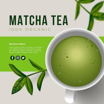 Anúncio realista de chá matcha