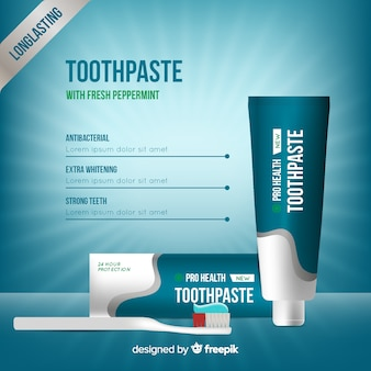 Anúncio realista de creme dental fresco