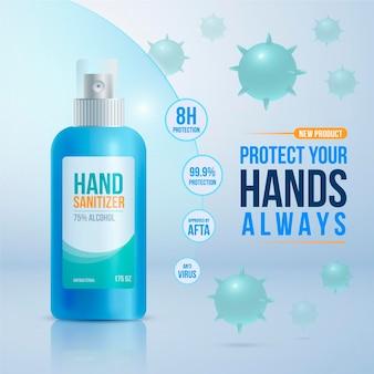 Anúncio realista de desinfetante para as mãos