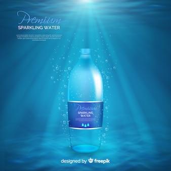 Anúncio realista de garrafa de água