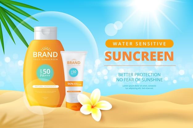 Anúncio realista de garrafas de protetor solar