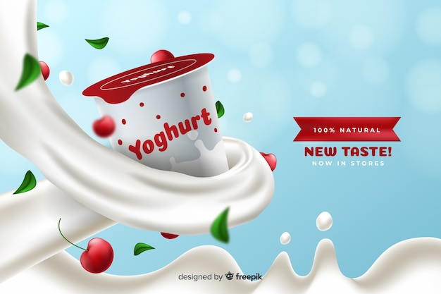 Anúncio realista de iogurte de cereja