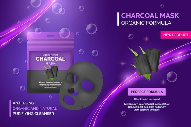 Anúncio realista de máscara de folha de carvão