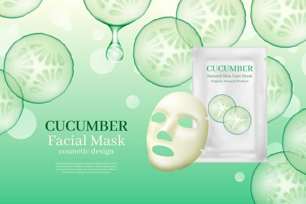 Anúncio realista de máscara de folha de pepino