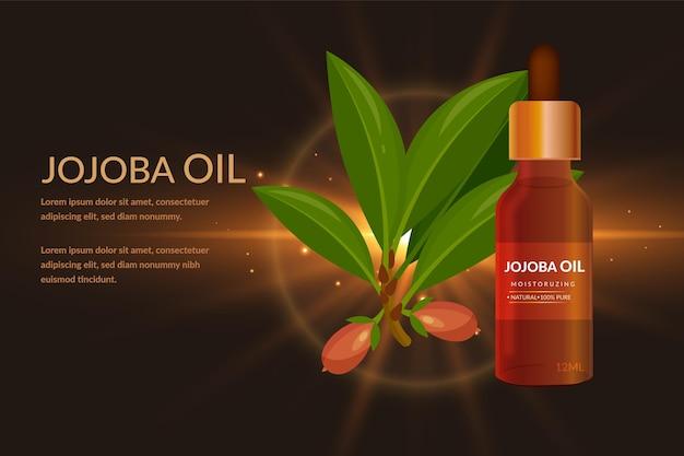 Anúncio realista de óleo de jojoba