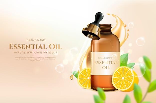 Anúncio realista de óleo essencial