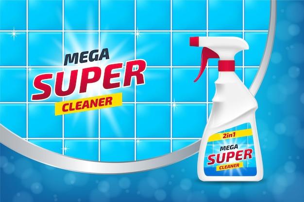 Anúncio realista de produtos de limpeza