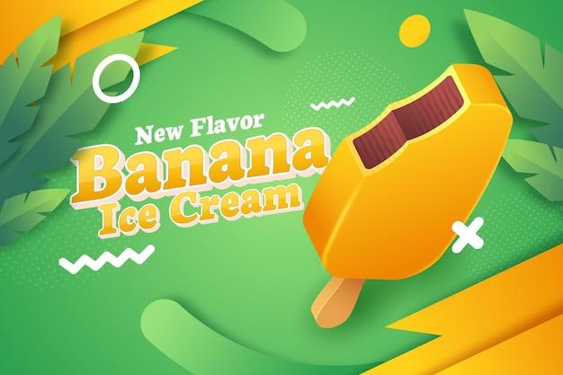 Anúncio realista de sorvete de banana
