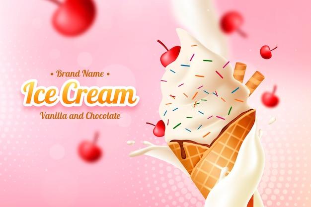 Anúncio realista de sorvete de baunilha e chocolate