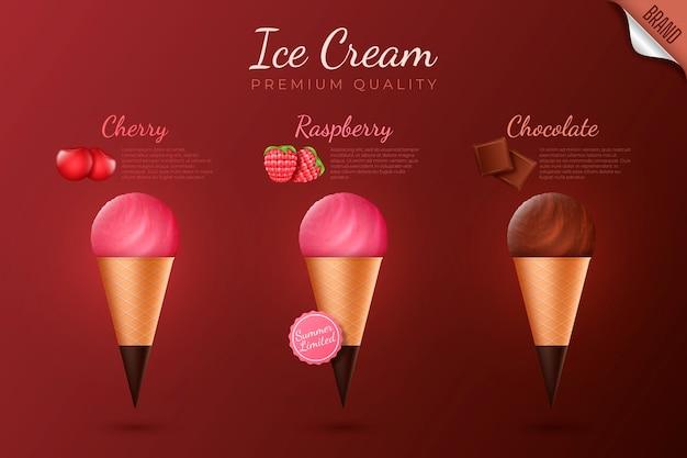 Anúncio realista de sorvete premium