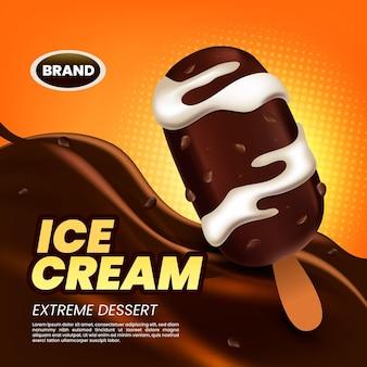 Anúncio realista de sorvete