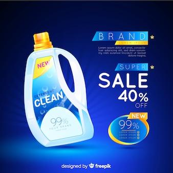 Anúncio realista de venda de detergente para a roupa