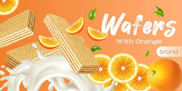 Anúncio realista de wafer com salpicos de laranja e leite frescos inteiros e fatiados