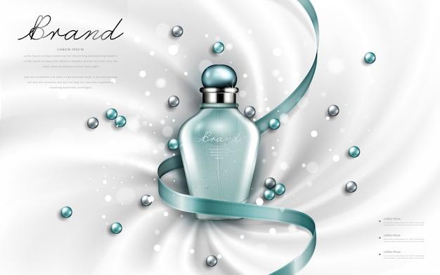 Anúncios atraentes de perfumes ou cosméticos, frasco de vidro brilhante com fitas turquesa e pérolas isoladas, ilustração 3d