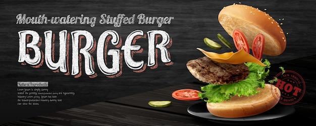 Anúncios de banner de hambúrguer delicioso em fundo preto