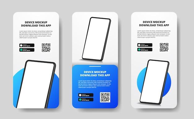 Anúncios de banner de histórias de mídia social para download de aplicativo para celular, smartphone. botões de download com modelo de código qr de digitalização. perspectiva 3d do telefone