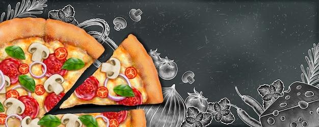 Anúncios de banner de pizza com ilustração de comida e ilustração em estilo xilogravura no fundo do quadro-negro