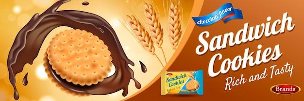 Anúncios de biscoito de sanduíche de chocolate com salpicos de molho e trigo
