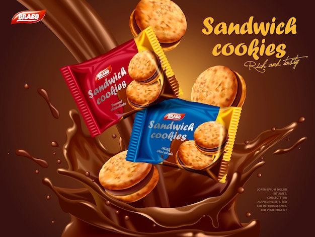 Anúncios de biscoitos recheados, design de embalagem diferente com respingos de chocolate derretido com biscoitos na ilustração 3d