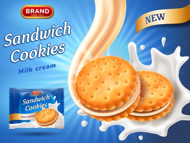 Anúncios de biscoitos tipo sanduíche.