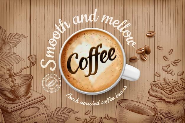 Anúncios de café com xícara de vista superior e fundo retrô gravado em tom marrom