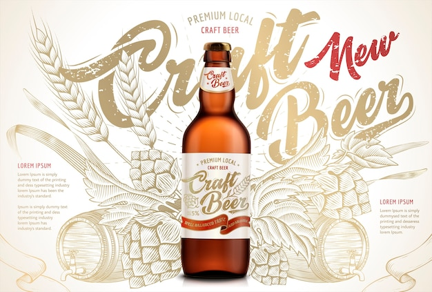 Anúncios de cerveja artesanal, cerveja engarrafada requintada em ilustração isolada em fundos retrô com trigos, lúpulo e barril em estilo de sombreamento de gravura