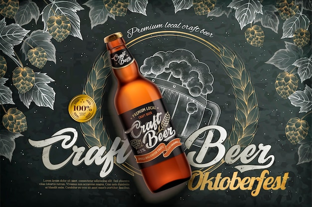 Anúncios de cerveja artesanal, garrafa de cerveja realista com etiqueta no fundo do quadro-negro de estilo de gravura, elementos de lúpulo e trigo