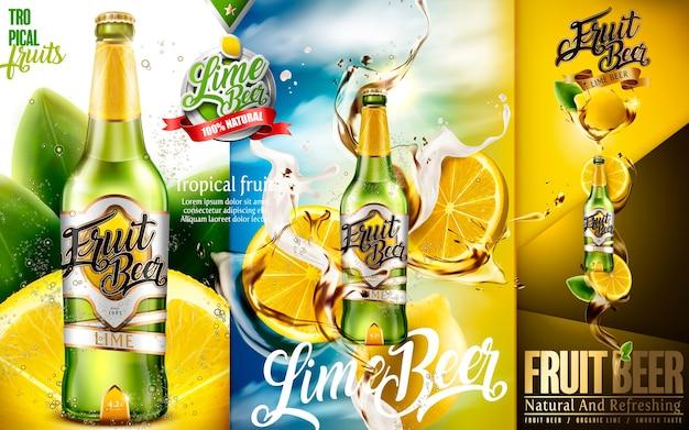Anúncios de cerveja de limão, cerveja premium de frutas com limão cortado e respingos de cerveja