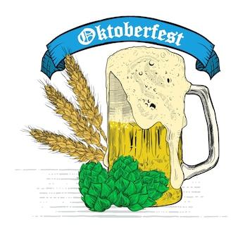 Anúncios de cerveja de trigo, cerveja e fita. vector vindima gravura ilustração para cartaz, convite para a festa. elemento de design desenhado de mão isolado no fundo branco
