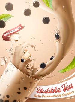 Anúncios de chá de bolhas com respingos de chá de leite e pérolas em um copo de vidro, ilustração 3d
