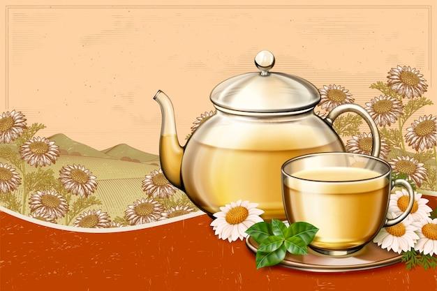 Anúncios de chá de camomila orgânico com bule de vidro em campos florais com gravura retrô, espaço de cópia para uso em design