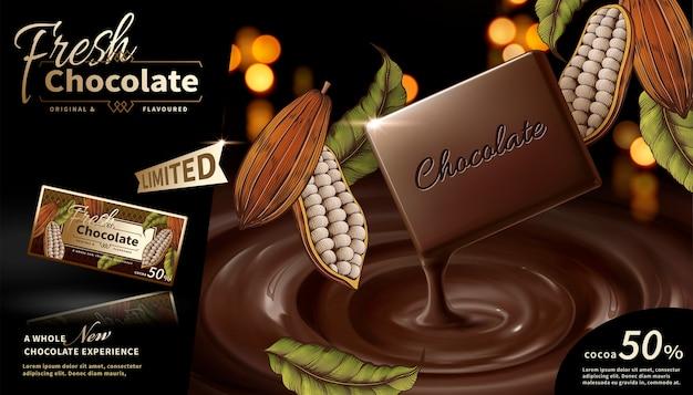 Anúncios de chocolate premium com elementos de plantas de cacau gravados
