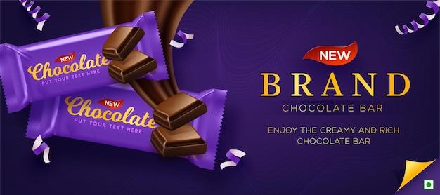 Anúncios de chocolate premium em ilustração 3d