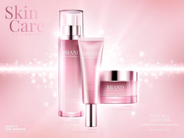 Anúncios de conjunto de cosméticos, pacote rosa claro sobre fundo rosa com elementos bokeh brilhantes na ilustração