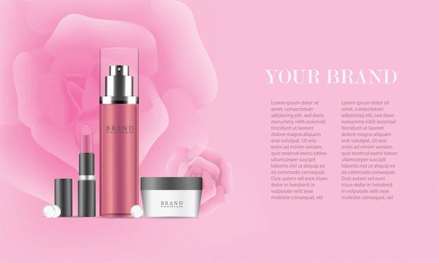 Anúncios de conjunto de cosméticos