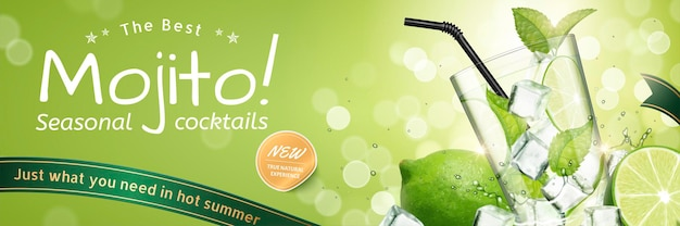 Anúncios de coquetéis sazonais de mojito com frutas refrescantes e cubos de gelo em um fundo verde bokeh