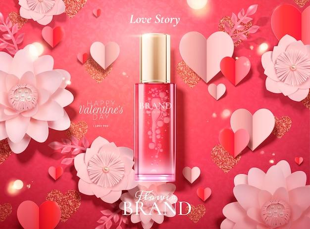 Anúncios de cosméticos de feliz dia dos namorados com frasco de vidro em fundo de flores de papel