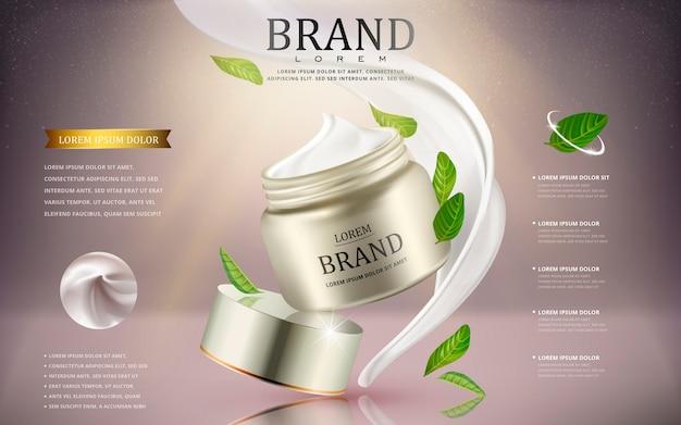 Anúncios de cosméticos em creme com recipiente de creme de prata