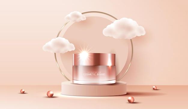 Anúncios de cosméticos em spa ou produtos para a pele com banner de garrafa para nuvem de pérolas de produtos de beleza