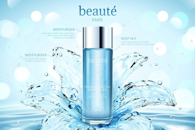 Anúncios de cosméticos hidratantes com nenúfar transparente em ondulações e fundo de bokeh brilhante